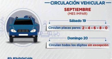 Medidas restrictivas para sábado 19 y domingo 20 de septiembre en Quito