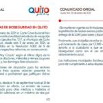 Continúan vigentes medidas de bioseguridad en Quito