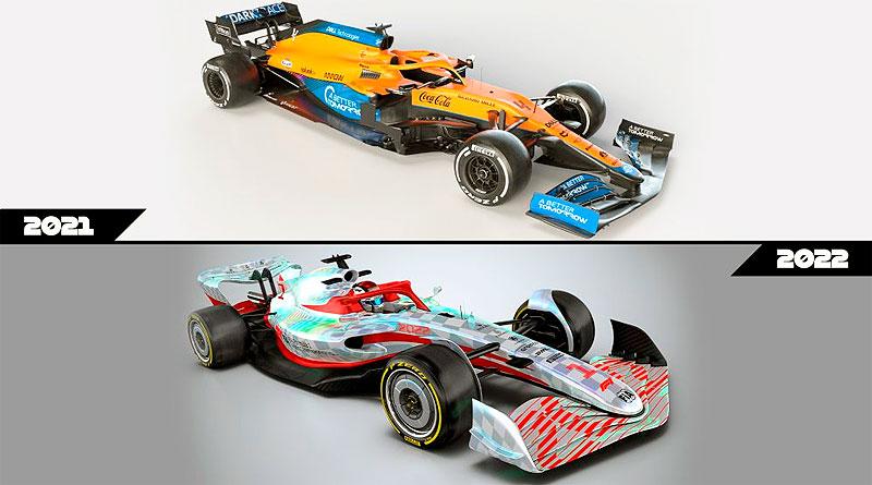 Diferencias entre los diseños de los autos de F1 de 2021 y de 2022